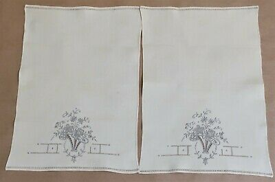 Vintage Pair Of Embroidered Linen Hand Guest Towels