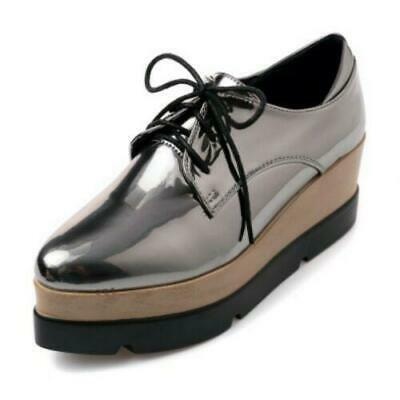 Punk Womens Wedge Mid Heels 6CM Platform Lace up Brogue Oxford Shoes Size New US