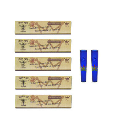 HORNET Classic Natural King Size Rolling Papers Blue Glass Round Filter Tips