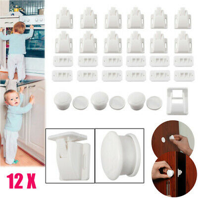 12pcs Invisible Magnetic Baby Child Proof Cupboard Door Drawer Safety Lock Catch