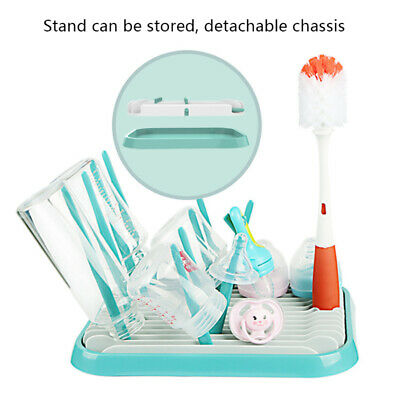 Baby Bottle Drying Rack Cleaning Brush Dryer Tray Shelf Feeding Cup Holder AU