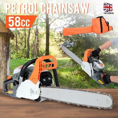 "Professional 58cc 20"" Petrol Chainsaw 3.4HP + 2 x Chains + Carrying Bag + More"