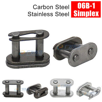 """06B-1 3/8"""" Simplex Roller Chain Straight Links Bushing Chains Stainless Steel"""
