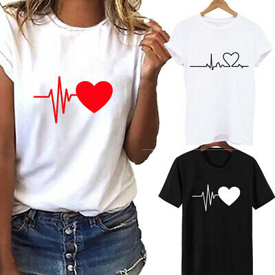 Women Ladies Short Sleeve T-Shirt Tops Blouse Heart Printed Casual Tee Fashion