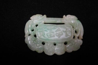 Rare Chinese Old Natural Green and White Jadeite Emerald Lucky Lock Pendant