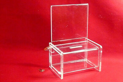 Five (5) -  Clear Acrylic Donation/Fundraising Boxes With Padlock & 2 Keys