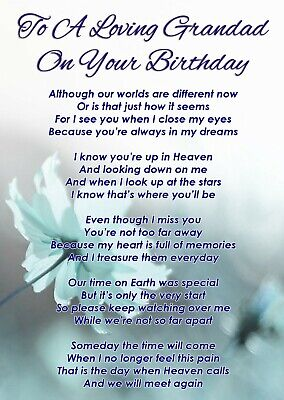 Loving Grandad On Your Birthday Memorial Graveside Poem Card & Free Stake F398