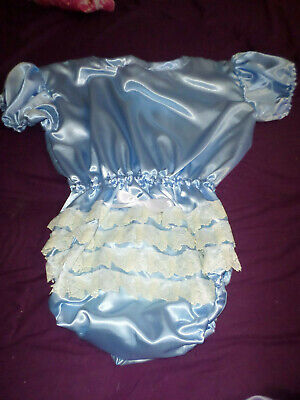 "ADULT BABY SISSY all-in-one BLUE SATIN ROMPER SUIT 48"" CHEST SLEEPSUIT LACE BACK"