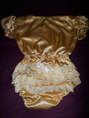 "ADULT BABY SISSY all-in-one GOLD SATIN ROMPER SUIT 42"" CHEST SLEEPSUIT LACE BACK"