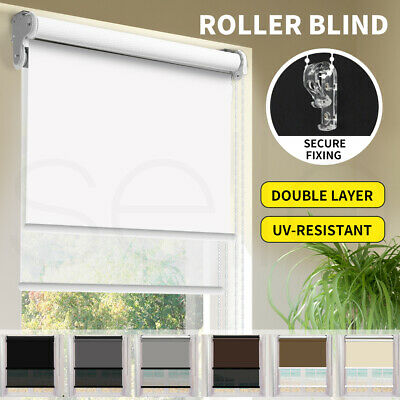 Roller Blind Day Night Blinds Blackout Curtains Sunscreen Double Window Shades