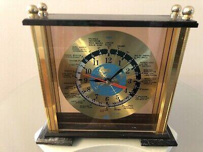 Nice Marble And Brass Quartz GMT World Time Desk Mantel Clock Heavy & Works Good