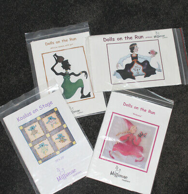 """Pack of 4 - """"DOLLS ON THE RUN PATTERNS"""" By MILLAMAC CREATIONS - never used"""