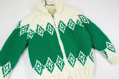 Vintage 50s Cowichan Knit Shawl Cardigan Sweater Jacket Green Youth Boys