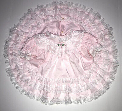 Vintage Baby Toddler Pink Lace Tiered Ruffle Party Dress Circle Skirt Ribbons
