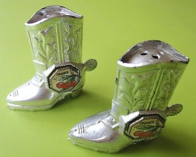 Vintage Retro Metal Miniature Japan Cowboy Boot Souvenir Salt & Pepper Shakers