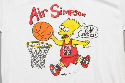 New! Air Simpson T-Shirt Michael Jordan Bootleg Bart Simpsons Basketball P698
