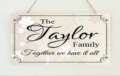 Handmade Personalised Plaque Family Surname Gift Sign Present Chic Mother's Day