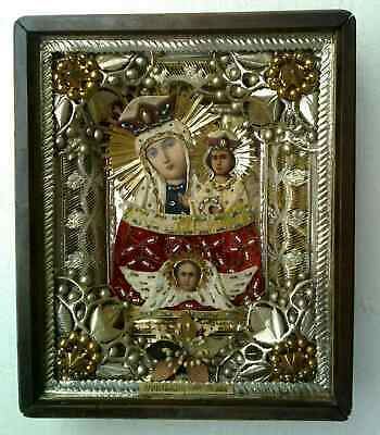 """Antique 19c Russian Orthodox Hand Painted Wood Icon """"the addition of the mind"""""""
