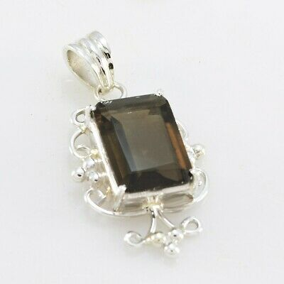 Brown 925 Sterling Silver genuine appealing Smoky Quartz gemstone Pendant AU