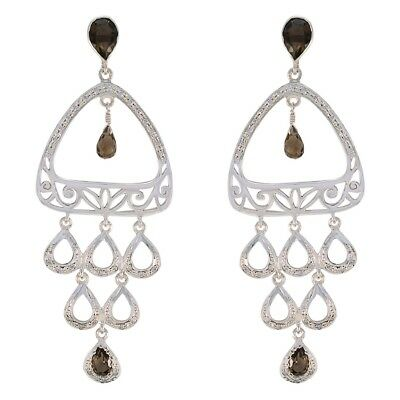 fine-looking Smoky Quartz 925 Sterling Silver Brown Earring Natural jaipur CA