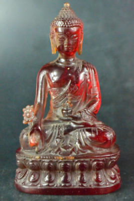 Chinese Collectible Old amber handwork carve buddha sit lotus Statue