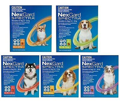 NexGard SPECTRA for Dogs Flea Tick Heartworm Worm treatment 3 Chews All sizes