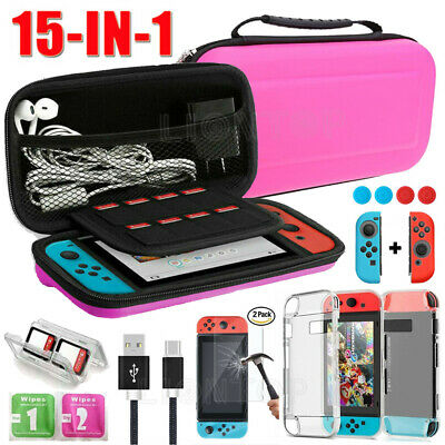 For Nintendo Switch Pink Carrying Case Bag+Shell Cover+Charging Cable+Protector