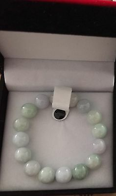 14MM  Certified Grade A Natural-Green Lavender Jadeite Jade Beads Bracelet icy