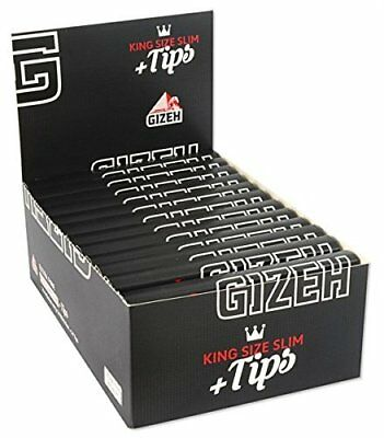 26 x Gizeh King Size Slim + Tips je 34 Blatt + Clipper Feuerzeug