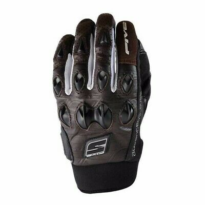 Five Stunt Leather Brown Motorcycle Bike Glove Knuckle Guard Size L