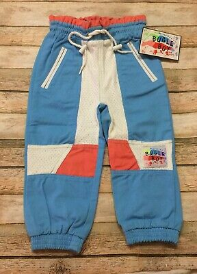 Bugle Boy Pants Vtg 90s RARE Toddler 3T Color Block Spell Out Blue White Kid NWT