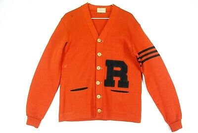 Vintage 50s Dehen JIM BROWN Cardigan Sweater Varsity Letterman Wool Orange Mens