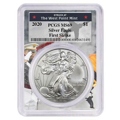2020 $1 American Silver Eagle PCGS MS69 First Strike West Point Frame