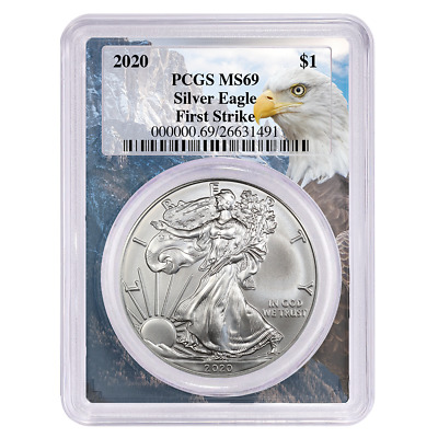 2020 $1 American Silver Eagle PCGS MS69 First Strike Eagle Frame