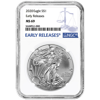 2020 $1 American Silver Eagle NGC MS69 Blue ER Label
