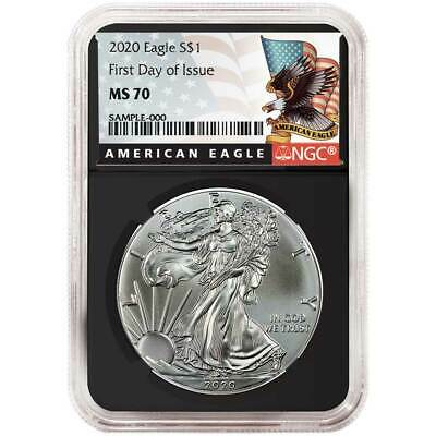 2020 $1 American Silver Eagle NGC MS70 FDI Black Label Retro Core
