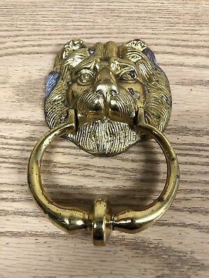 Vintage Brass Lion's Head Door Knocker Retro Architectural Hareware