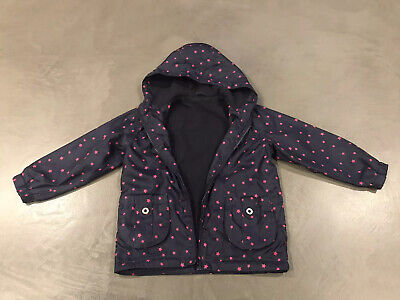 Dunnes Girls Navy Blue & Pink Stars Scandi Jacket Raincoat Age 4 Years VGC