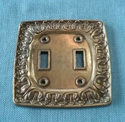 Vtg Amerock Metal Double Light Switch Plate Cover Leaf Design