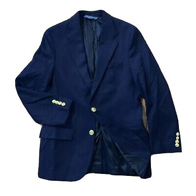 Polo Ralph Lauren Italy Blazer - Blue Gold Button Wool Boys 16