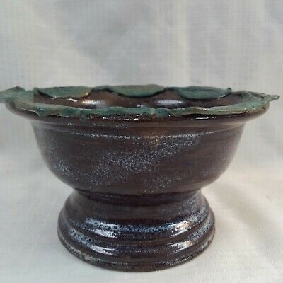 Vintage Hand Made Crafted Studio Pottery Planter Bowl with Leaves Freeform