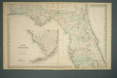 J.H. Colton's Map of Florida 1868 Book Resourced Atlas 17 1/4 x 28 inches