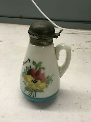 Vintage Hand Painted Syrup Container Milk Glass Flowers