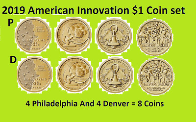 2019 P & D American Innovation Dollar Complete Uncirculated 8 Coin Set - On Hand