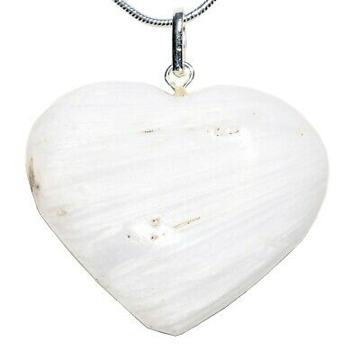 "CHARGED Himalayan Scolecite Crystal Heart Pendant + 20"" Chain + Selenite Heart"