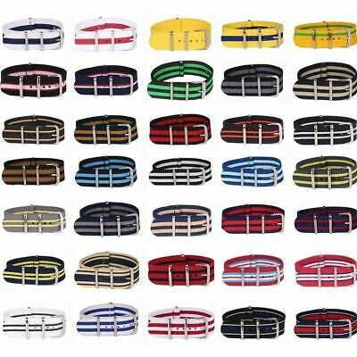 Stripe Watch Replacement Band Fabric Nylon Straps Steel Buckle Watchband 20mm