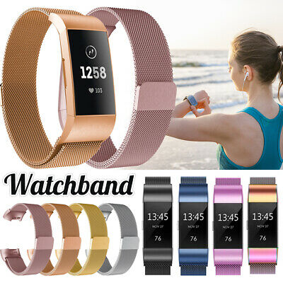For Fitbit Charge 3 Strap Replacement Milanese Band Metal Stainless Steel