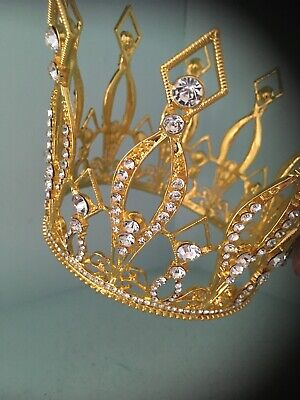 Tall Gold Crown . Childs Crown . Cake Crown . Crystal Smaller Crown . Photo Shoo