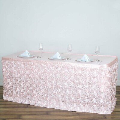 "17"" Blush SATIN ROSES TABLE SKIRT Tradeshow Wedding Catering Supplies Dinner"