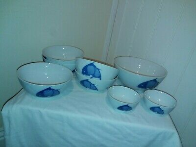 Chinese Style Porcelain Blue & White Bowls Koi Carp Fish Motif  8 pieces
